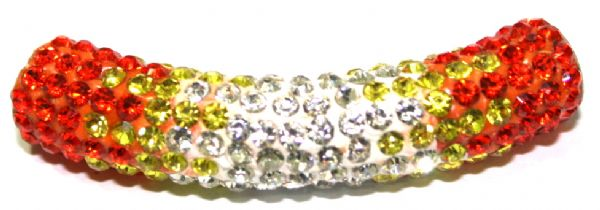 10mm x 45mm 198 St - Pave Crystal Spacer Tube - Orange - Yellow - Clear - 1045004 - SM03